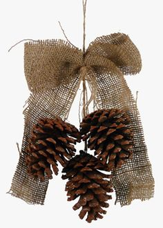 10in Pine Cone Drop Ornament With Jute Bow