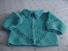baby cardigan 2 hexagons with collar