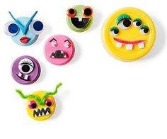 Monster Mags: Our recycled-cap faces are quite attractive -- literally, as they're magnetic. To create them, attach craft foam, googly eyes, and pipe cleaners with tacky glue to plastic caps. Add details with markers. Before attaching a magnet to the back of each cap, glue a scrap of cardboard or two inside so that the magnet will be flush with the cap's edge.