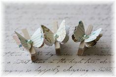 cloth pin, bell idea, butterflies, pin butterfli, butterfli embellish