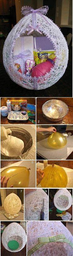 DIY Egg Shaped Easter String Basket egg shape, string basket, diy egg, egg basket