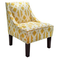 Foam-cushioned swoop arm chair with trellis-print upholstery a pine wood frame. Handmade in the USA.  Product: Arm chair