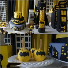 Batman Themed Birthday Party via Kara's Party Ideas KarasPartyIdeas.com #BatmanParty #BoyParty #SuperheroParty #PartyIdeas #BatmanBirthdayPa...
