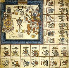 Codex Borbonicus.  The god Xipe and culebra quetzalcoatl on the fourteenth week of the tonalpohualli.
