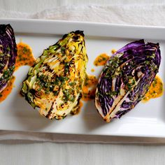Grilled cabbage with spicy lime dressing