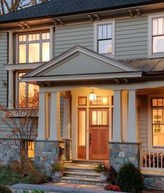 Love the columns + porch + door on this home! architects, window, exterior, craftsman, column, front doors, hous, design, front porches