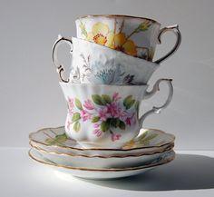 Set of Three Vintage English Fine Bone China Teacups and Saucers