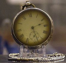 Pocket watch retrieved from an unknown victim of the disaster. It had stopped at 02:28, a few minutes after its owner went into the water.