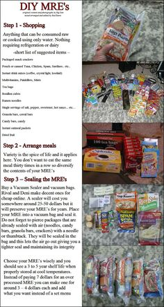 DIY MREs. The photos show some ideas I hadn't considered before (like instant mashed potato pouches). Not for bobs too much water to prepare but good for in home kits maybe make some for the neighbors just in case diy emergency preparedness, idea, 5531040 pixel, food storage, zombi, prepper, surviv, diy mre, emergency kits