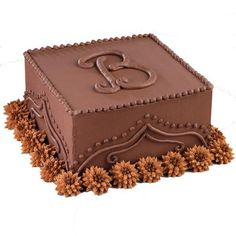 Monogram chocolate cake - cute for a grooms cake or birthday cake.  Could do as a round cake also, and without the flowers button flowers, chocolates, cake design, tasti recip, groom cake, monogram cake, monograms, chocolate cakes, birthday cakes