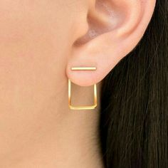Square gold earring