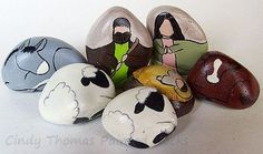 7-Piece Decorative Stone Nativity Set - Hummingbird Hues