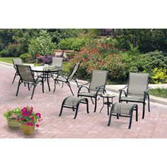 Mainstays Bettona 10-Piece Sling Patio Dining Set and Leisure Set, Seats 6
