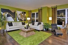 Permanent Link to : Fresh Green Decorating Living Room with Rugs and Artisitic Ornament