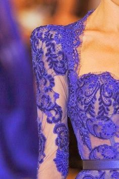 Blue lace maxi dress with leather belt