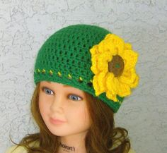 Green hat with Yellow Sunflower Girls Teens by CrochetHatsForYou,