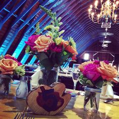 Flowers & fairy lights in the Barn.