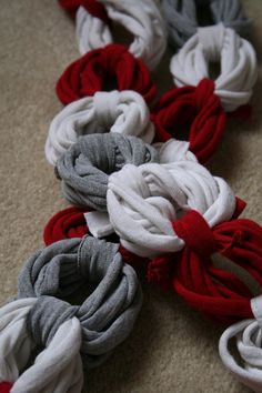 craft, cloth, t shirt scarves, colors, tshirt scarf, diy t shirts, tee shirts, blues, old t shirts