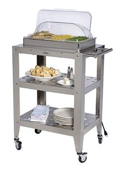 Set up your entire buffet in the kitchen and roll it right out to where your guests are dining!