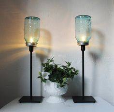 2 BLUE Antique Perfect Ball Mason Jar Table Top Lamps by BootsNGus, $90.00