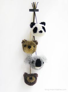 DIY Animal Pompoms - Tutorial | Mr Printables • craft this CWA • CWA Australia craft • koala, panda, bear animal pompom tutorial here