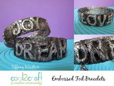 ▶ How to Make Embossed Foil Water Bottle Bracelets by Tiffany Windsor - YouTube