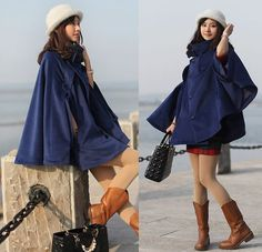 navy blue cape Wool Cape Cashmere coat breasted button coat winter coat cloak cape  S-L on Etsy, £42.72