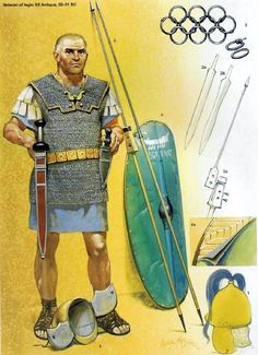 Roman Legionary in the army of Augustus, 32-31 BC. by Angus McBride.
