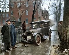 Colorized photo of a car wreck in Washington D.C., 1921