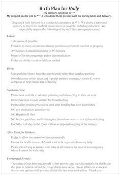 natural childbirth birth plan, writing a birth plan
