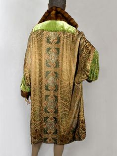 Couture-quality unlabeled evening coat of metallic brocade and velvet, c.1924.