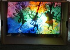 Wax resist paintings as backdrop for shadow theater
