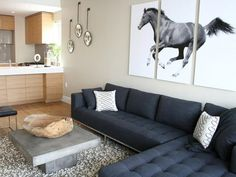 Modern equestrian living room
