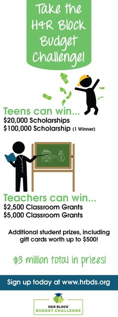 HS Teachers: Your students can learn real-world financial skills AND win big prizes by participating in the H&R Block Budget Challenge. Sign up today: www.hrbds.org
