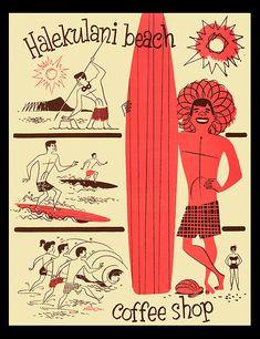 1950's-1960's coffee shop menu, w/ illustration by Donn Allison  coffee shop menu from Halekulani Beach Coffee Shop- Waikiki, Hawaii
