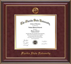 Florida State University Diploma Frames - FSU - with premium hardwood moulding and official embossing of FSU seal and name tassel holder - garnet suede on gold mat and UV glass to protect your investment and keep those memories alive! diploma frame