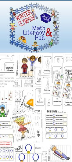 40+ pages of Winter Olympics Math and Literacy Fun for PreK and K!