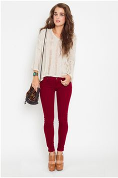 Corduroy Skinny Jeans in Wine, $82, available at Nasty Gal.