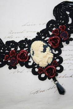 Gothic choker cameo choker victorian choker with by poppenkraal, $39.90