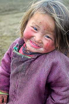 Little cutie - Mongolia ~ 1 in 200 people in Mongolia and Central Asia have blond hair, a gene that goes back 3000 years to the Scythians and other Eurasian Indo-European people's of ancient Central Asia.