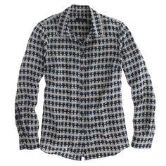 Silk boy blouse in owl print - JCrew