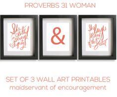 Scripture Art Coral Wall Art Printables Proverbs 31 Bible Verse Printable Christian Art Print, Home Decor Set of 3 on Etsy, $18.00