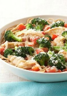 Parmesan, Chicken & Broccoli Pasta for Two -- Chicken and broccoli are served on a bed of whole-wheat pasta in this easy weeknight recipe for two. Sprinkle with Parmesan and prepare for compliments.