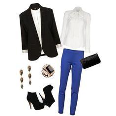 cobalt blue pants with black & white