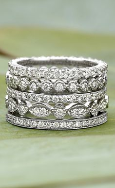 Engagement ring, wedding band, & a band for each child. Create your own stack.