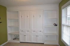 White Murphy Bed fold down bed, queens, murphy beds, guest bedroom, basement, murphi bed