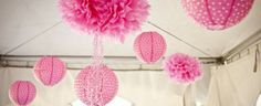 Summer Party Tips Pink Puffs Decorations #caribbeanpartyideas