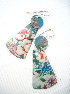 Spring Flowers Earrings-Vintage Tin Dangle- Lightweight. $26.00, via Etsy.