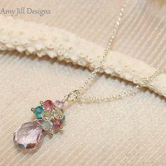Pink Amethyst Necklace, Apatite Mystic Pink Aquamarine Lemon Quartz Amethyst Cluster Pendant, Sterling Silver Chain, Pink Gemstone Necklace on Etsy, $44.00