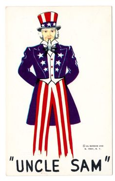 Uncle Sam Standing Tall post card by Al Dundon
